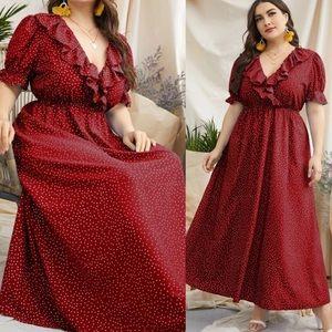 Plus size dot A line dress